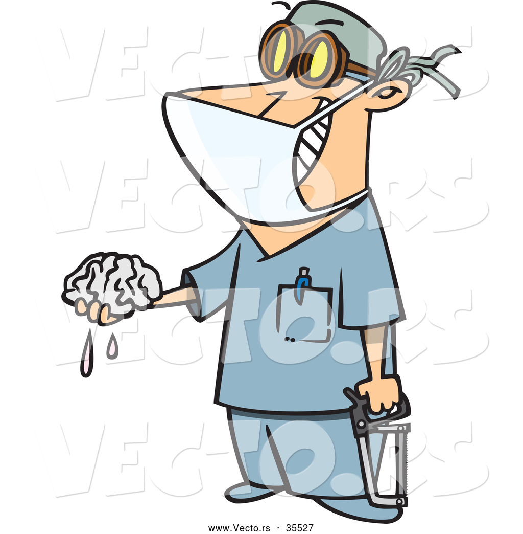 1024x1044 Vector Of A Smiling Cartoon Surgeon Holding A Saw And Brain