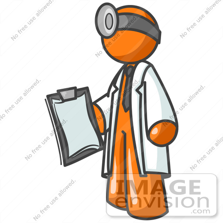 450x450 Clip Art Graphic Of An Orange Guy Character Doctor In A Lab Coat