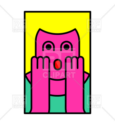 367x400 Oh My God Emotion. Surprised Woman Icon. Royalty Free Vector Clip