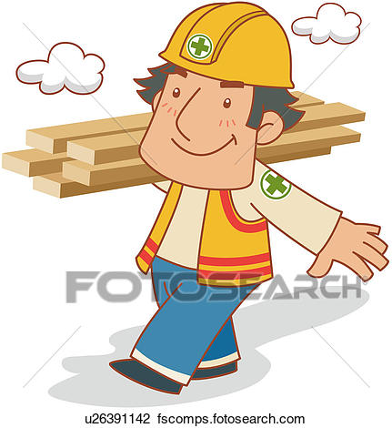 431x470 Clipart Of Construction Worker Carrying Lumber U26391142