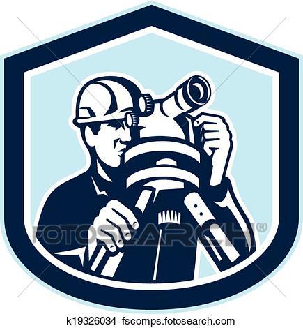 435x470 Clipart Of Surveyor Surveying Theodolite Shield Retro K19326034