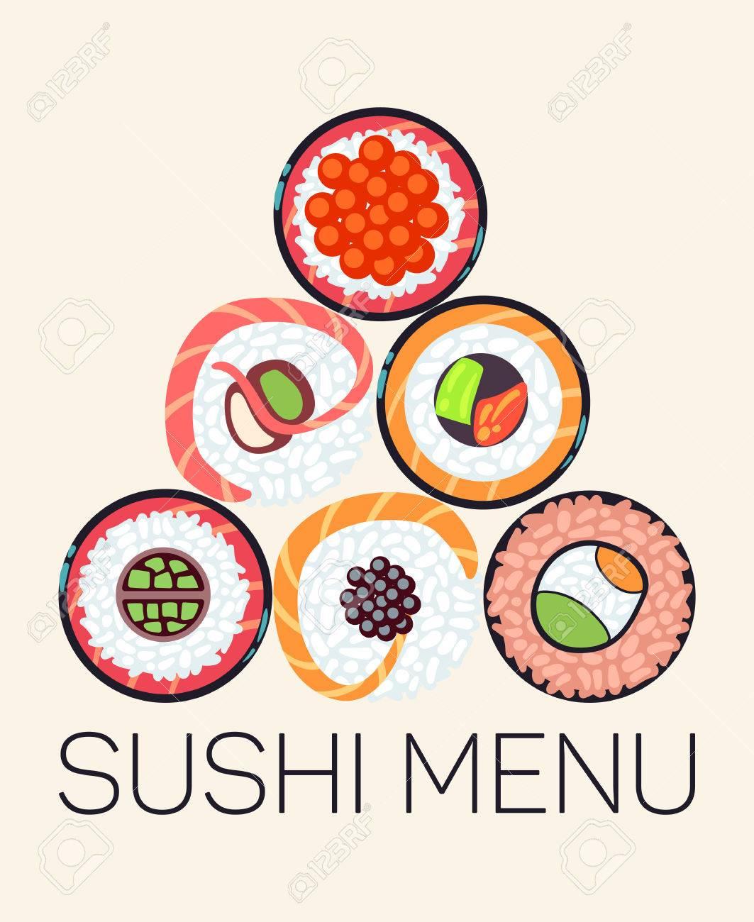 1063x1300 Japanese Restaurant Sushi Menu Template. Asian Menu With Roll