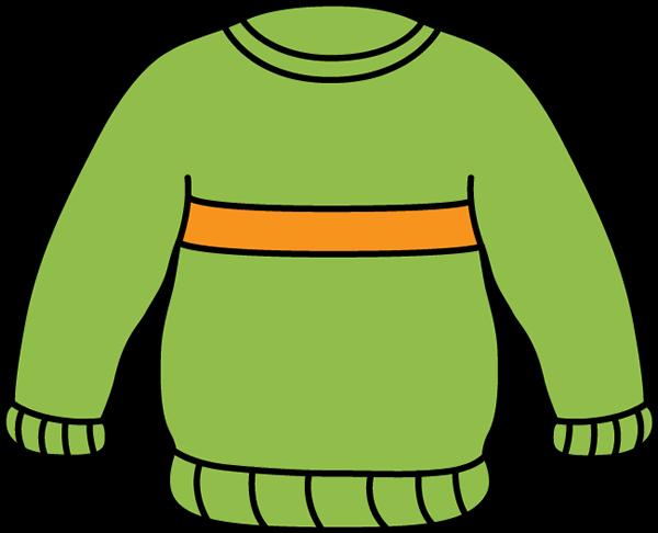 600x486 Green And Orange Sweater Clip Art