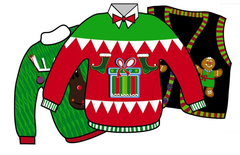 800x516 Ugly Christmas Sweater Party Clip Art Happy Holidays!
