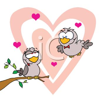 350x327 Cartoon Of A Male Lovebird Flying To His Sweetheart