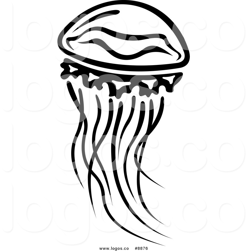 1024x1044 Royalty Free Clip Art Vector Logo Of A Black And White Jellyfish