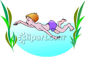 350x237 Summer Clipart Picture of a a Boy Swimming in the Ocean