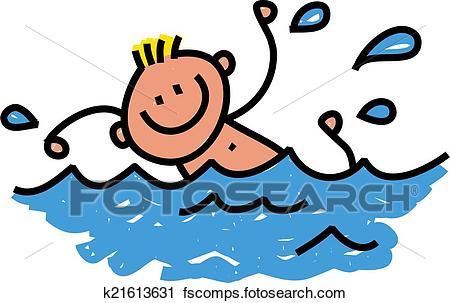 450x303 Clipart Of Happy Swimming Boy K21613631