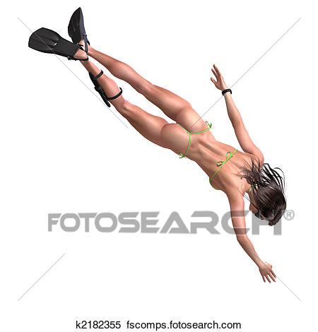 450x470 Stock Illustration Of Attractive Girl Swimming And Diving K2182355