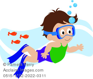 300x254 Clip Art Illustration Of A Cartoon Boy Swimming With Fishes