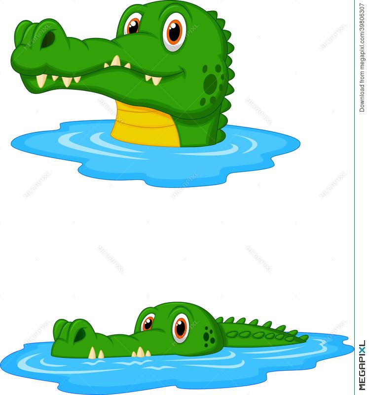 748x800 Cute Crocodile Cartoon Swimming Illustration 39806307