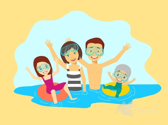 700x523 Free Cartoon Family Members Swimming Together Vector