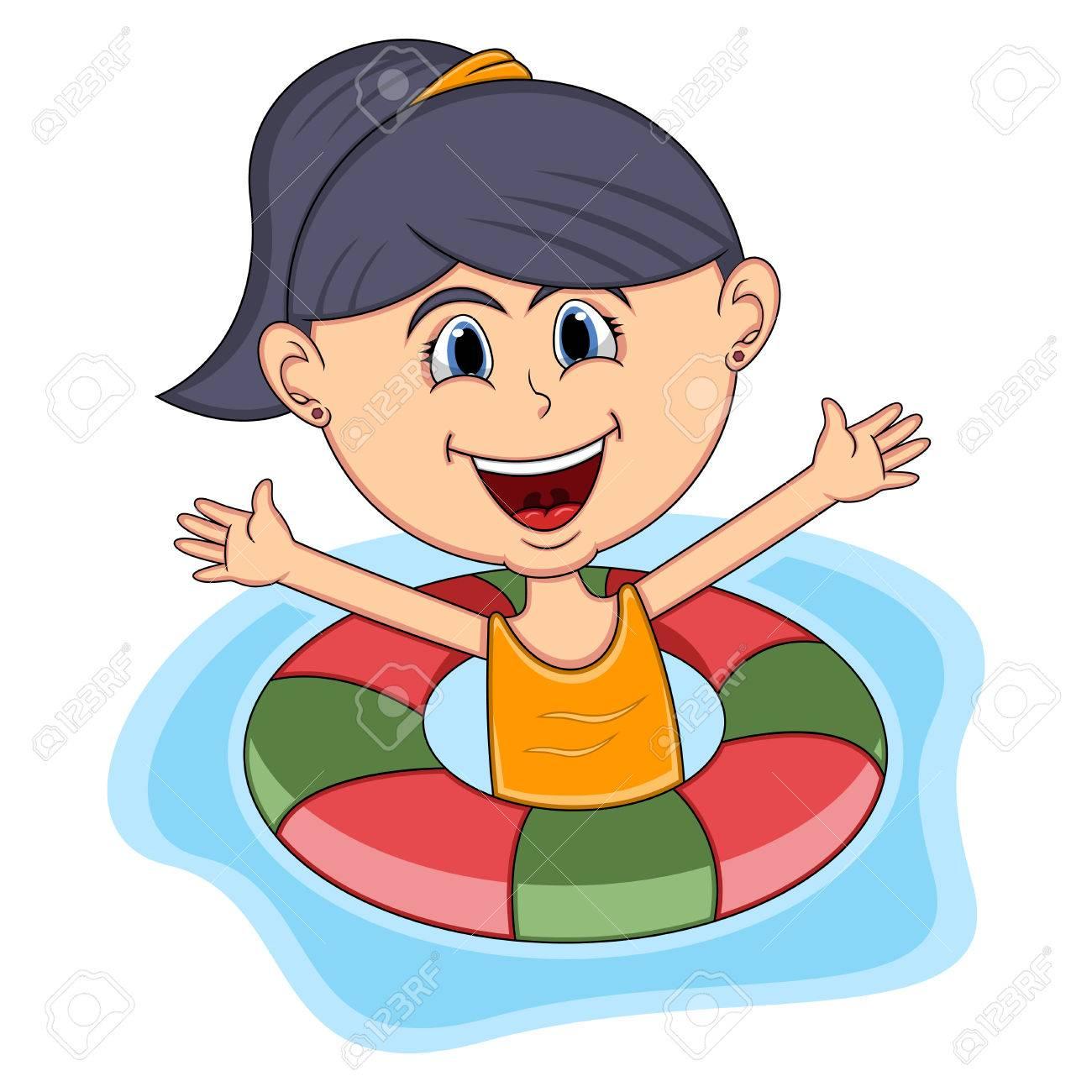 1300x1300 Girls Swimming Cartoon Royalty Free Cliparts, Vectors, And Stock