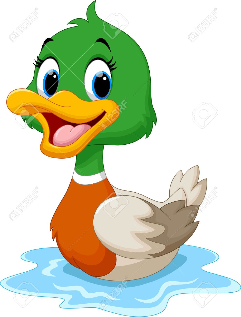 989x1300 Cartoon Duck Swimming Royalty Free Cliparts, Vectors, And Stock