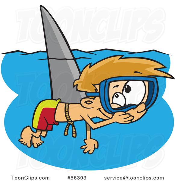 581x600 Cartoon Mischievous Blond White Boy Wearing A Shark Fin