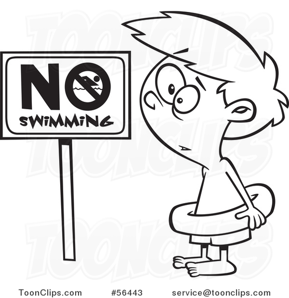 581x600 Cartoon Outline Boy Wearing An Inner Tube By A No Swimming Sign