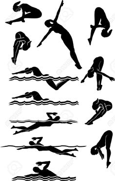 236x371 Male Swimmers Silhouettes Set 3 Instant Download By Irrationalarts