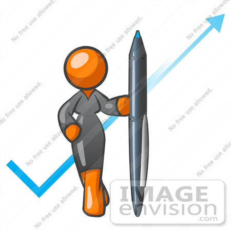 450x450 Clip Art Graphic Of An Orange Corporate Woman Character Standing