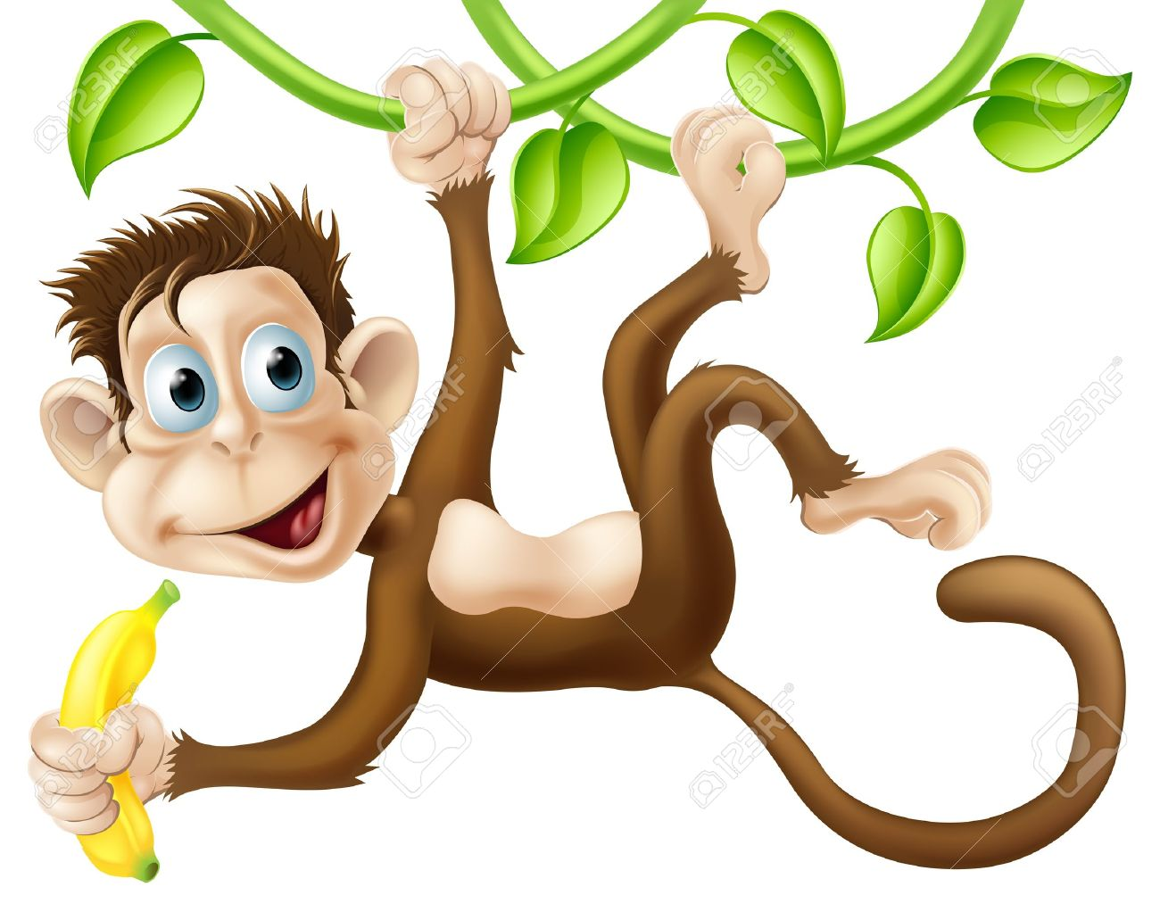 1300x1022 A Cute Monkey Swinging From Vines With A Banana In His Hand