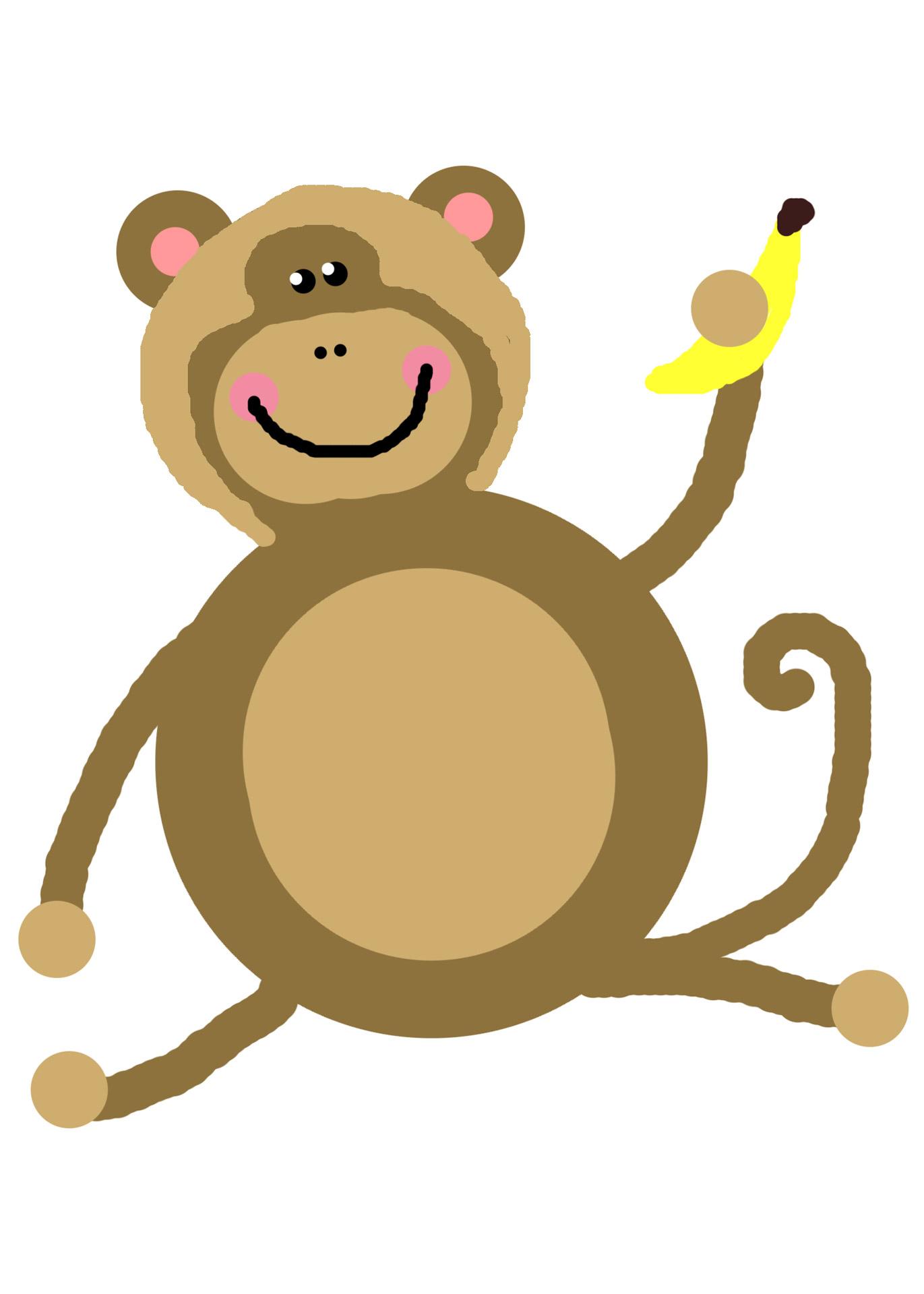 1371x1920 Monkey Clip Art Free Stock Photo