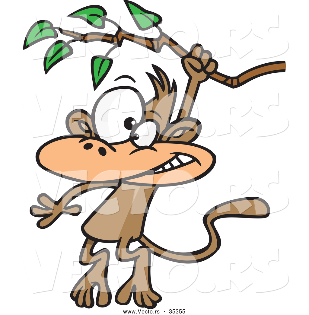 1024x1044 Vector Of A Cartoon Monkey Swinging From A Treen Branch By