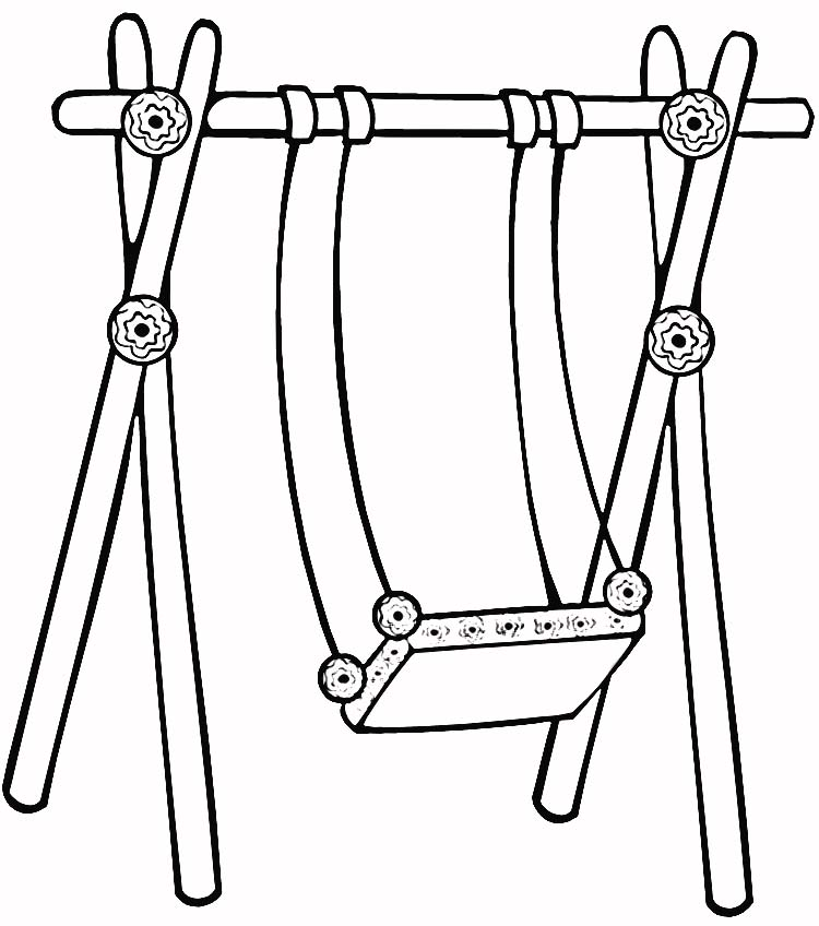 750x848 Swing Set Coloring Page 307186