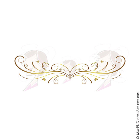 570x570 Gold Retro Swirl Page Border Decoration Elegant Curly