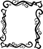 151x170 Heart Swirl Border Clipart