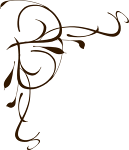 258x300 Left Brown Floral Swirl Clip Art