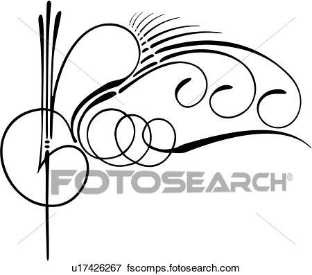 450x397 Clip Art Of , Pinstriping, Side Swirl, Swirl, U17426267