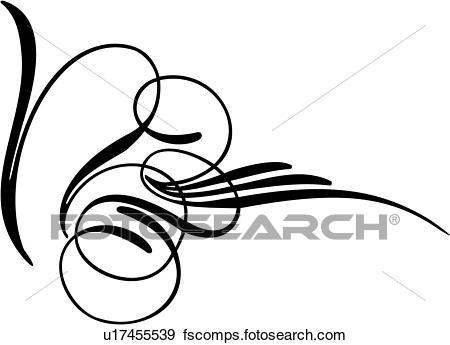 450x345 Clip Art Of , Pinstriping, Side Swirl, Swirl, U17455539