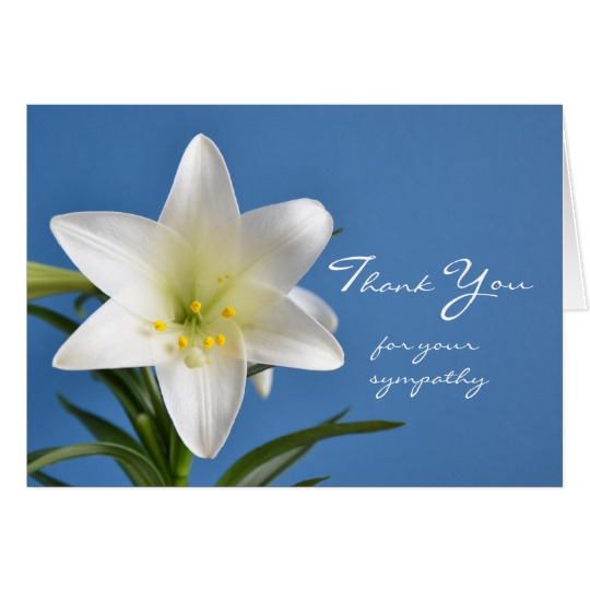 540x540 Sympathy Memorial Thank You Note Card, Easter Lily Card