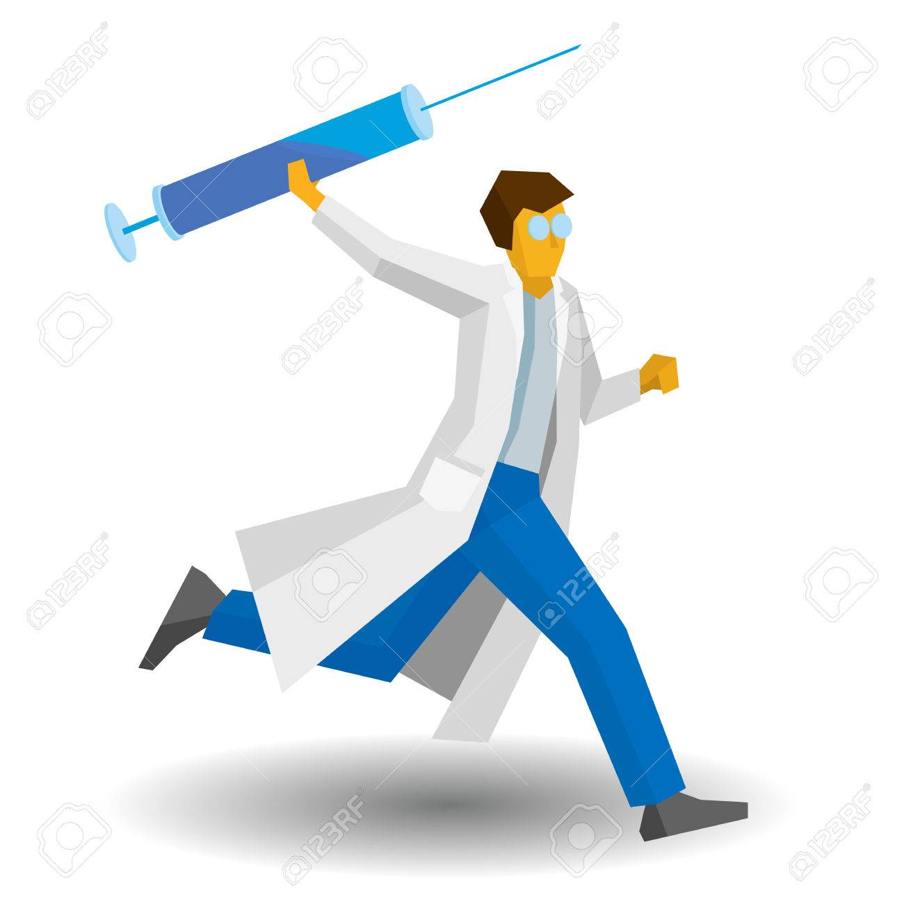 1300x1300 Doctor Running With A Large Syringe. Medicine Concept