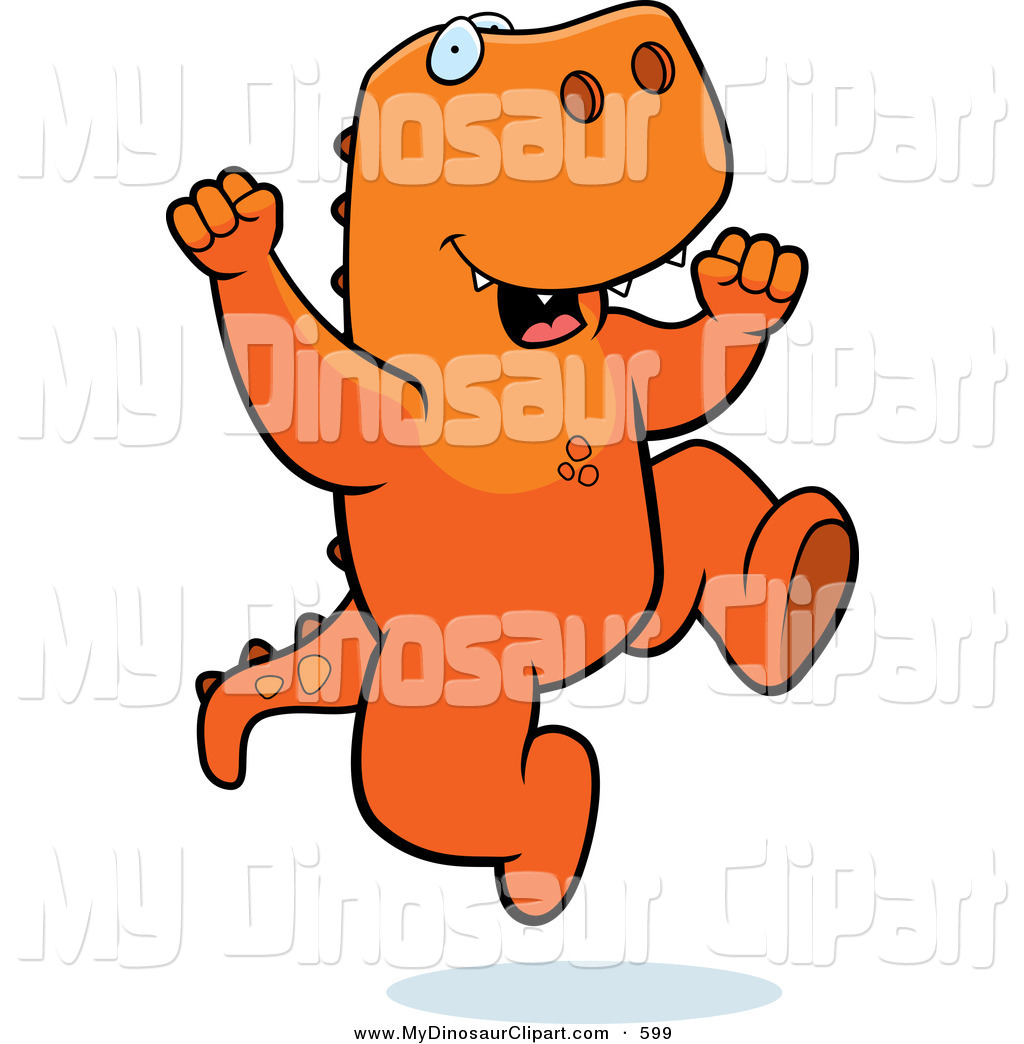 1024x1044 Clipart Of A Happy Orange T Rex Jumping By Cory Thoman