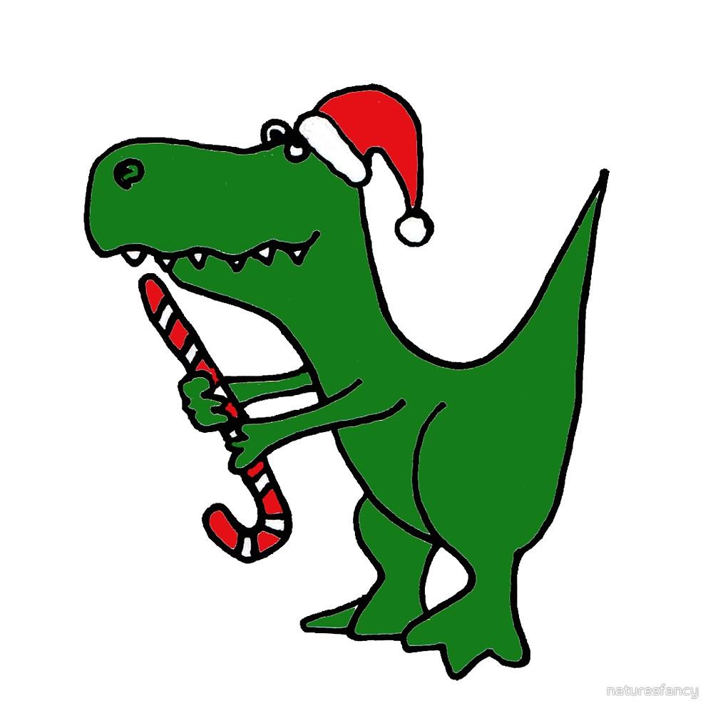 1000x1000 Cool Funky Christmas Green T Rex Dinosaur In Santa Hat By