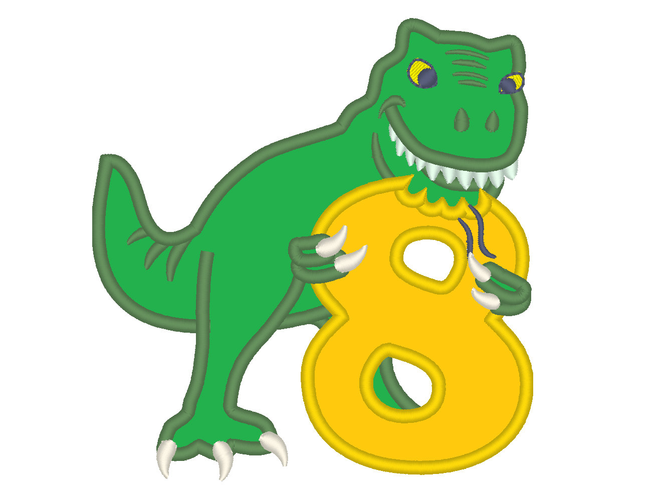 1341x974 T Rex Dinosaur Birthday Number Eight 8 Machine Embroidery