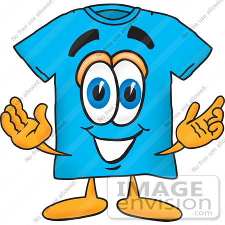 450x450 Clip Art Graphic Of A Blue Short Sleeved T Shirt Character