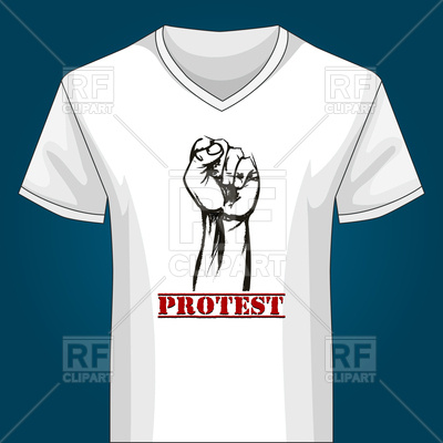400x400 T Shirt Template With Protest Fist Drawn In Sketch Style Royalty