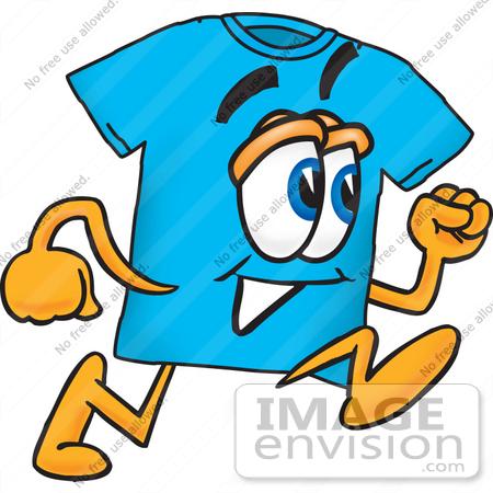 450x450 Clip Art Graphic Of A Blue Short Sleeved T Shirt Character Running