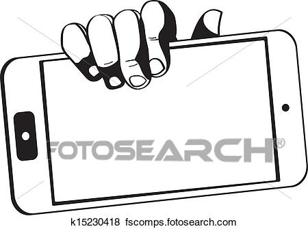450x335 Clip Art Of Hands Holding A Tablet Touch Computer Gadget