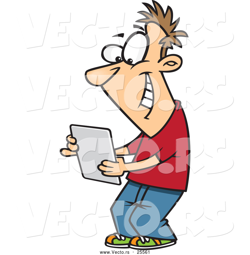 1024x1044 Vector Of Happy Cartoon Young Man Reading Message On