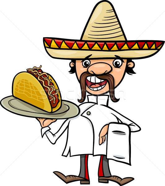 532x600 Mexican Chef With Taco Cartoon Illustration Vector Illustration