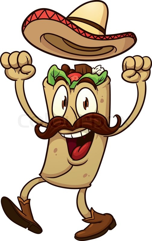 504x800 Cartoon Mexican Taco. Vector Illustration With Simple Gradients