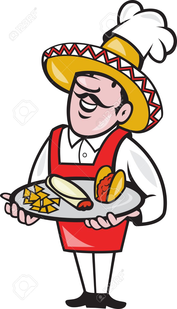 748x1300 Illustration Of A Cartoon Mexican Chef Cook Wearing Chef Hat
