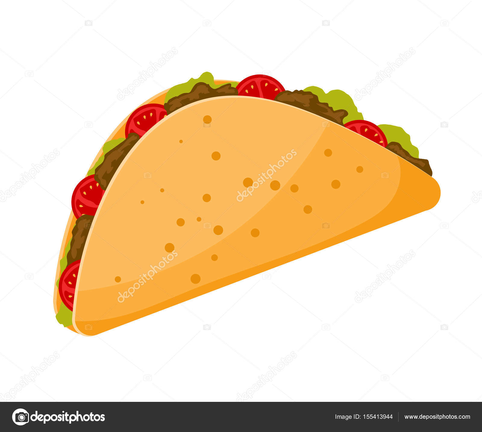 1600x1433 Traditional Mexican Food Is Taco. Cartoon Image Of A Taco On A W