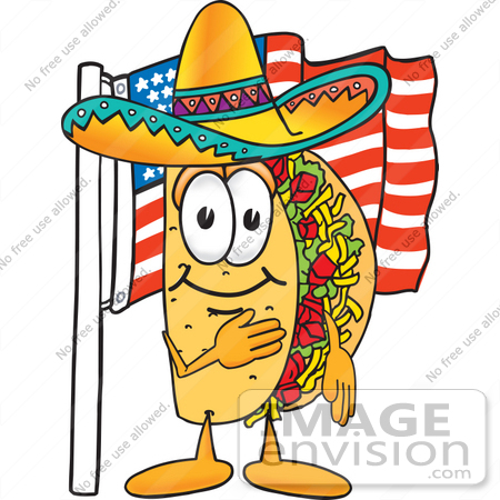 450x450 Clip Art Graphic Of A Crunchy Hard Taco Character Pledging