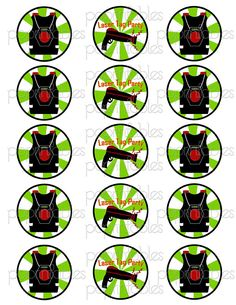 236x305 Laser Tag Digital Collage Cupcake Toppers 2 Inch Circle Tags No