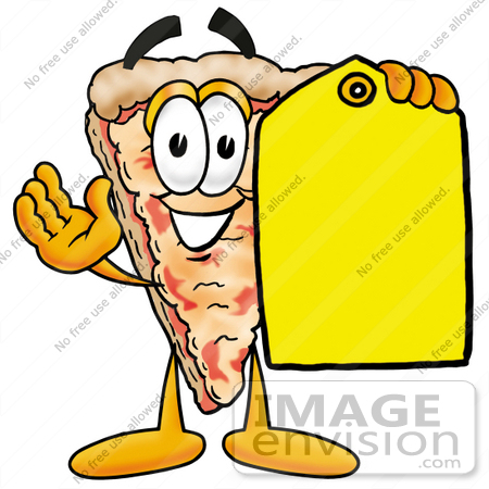 450x450 Clip Art Graphic Of A Cheese Pizza Slice Cartoon Character Holding
