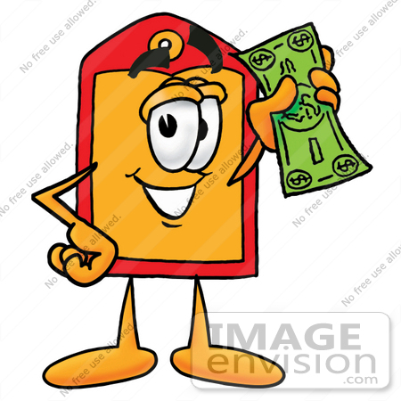 450x450 Clip Art Graphic Of A Red And Yellow Sales Price Tag Cartoon