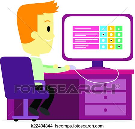 450x429 Clipart Of Employee Taking A Test On Computer K22404844